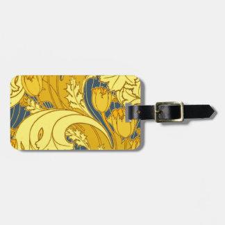 Motif vintage de tulipe de bleu et d'or étiquettes bagages