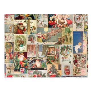 Motif vintage de vacances de cartes de Noël Cartes Postales
