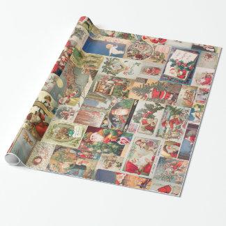 Motif vintage de vacances de cartes de Noël Papier Cadeau Noël