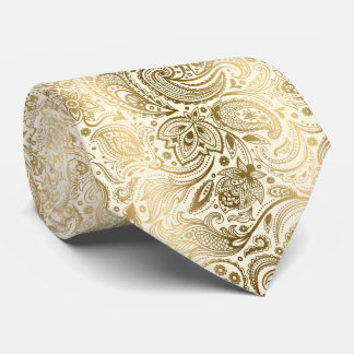 Motif vintage élégant de Paisley d'ivoire et d'or Cravate