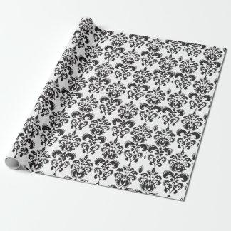 Motif vintage noir et blanc Girly 2 de damassé Papier Cadeau