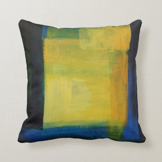 """""""""""Motion"""" Blue and Yellow lThrow Cushion"""