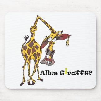 Motiv lustige Giraffe mit Ohrring und Goldzahn Mauspads