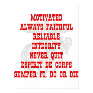 Motivated, Always Faithful, Reliable, Integrity, N Postcard