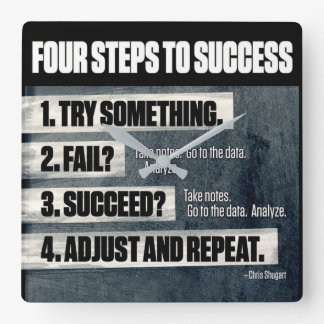 Motivation - Four Steps To Success - Inspirational Square Wall Clock
