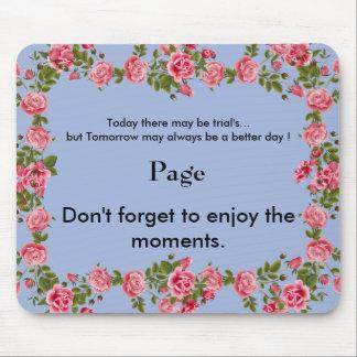 Motivation_Monogram_Pink Roses-Blue_Home-Work Mouse Pad