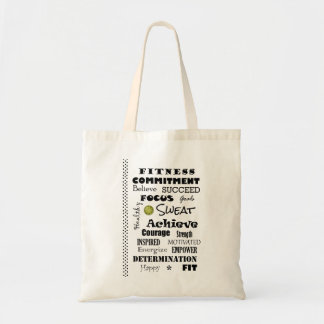 Motivational and Inspirational Fitness Typography Tote Bag