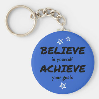 Motivational believe achieve blue basic round button keychain