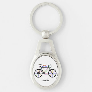 Motivational Bike Words Bicycle Cycle Custom Name Silver-Colored Oval Keychain