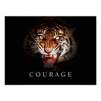Motivational Courage Roaring Tiger Poster Print