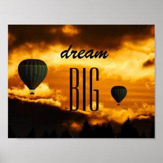 """Motivational """"Dream Big"""" Hot Air Balloon Poster"""