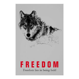Motivational Freedom Quote Wolf Pop Art Grey Red Poster