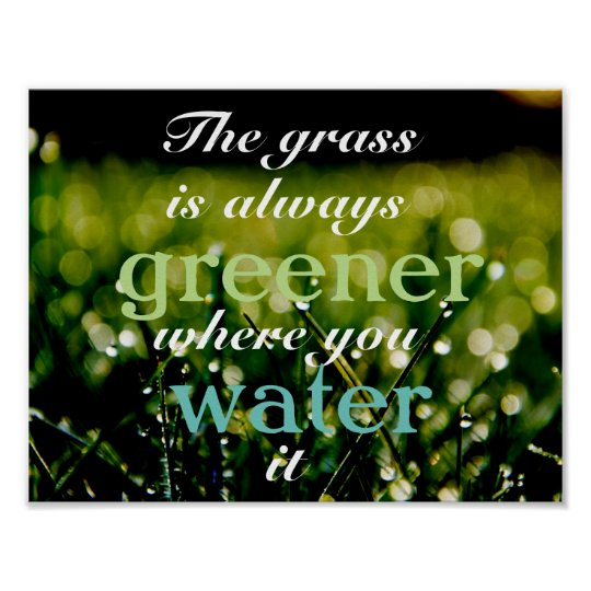 Motivational| Grass is greener where you water it Poster