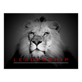 Motivational Leadership Courage Lion Poster Print