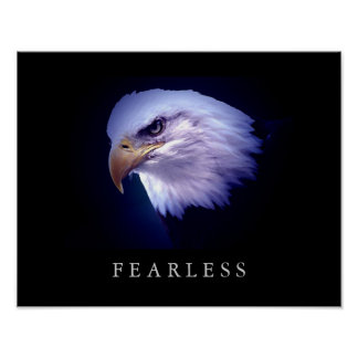Motivational Leadership Fearless Eagle Eyes Poster