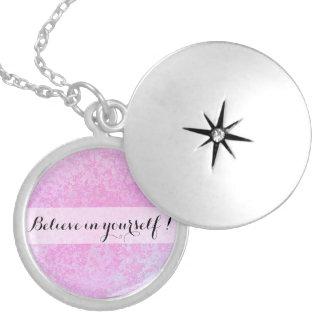 Motivational message pink locket necklace