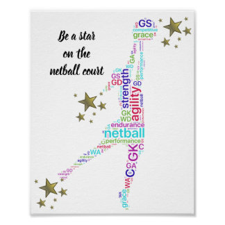 Motivational Netball Star Quote Poster