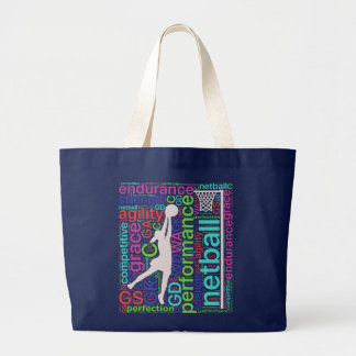 Motivational Player Positions Netball Large Tote Bag