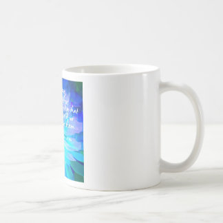 Motivational quote in blue flower coffee mug