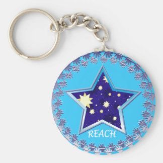 "Motivational"" Reach for the Stars""Keychin Basic Round Button Keychain"