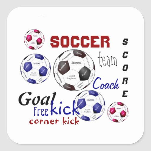 Motivational Soccer Game, Sports Words Square Stickers