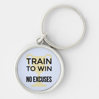 Motivational sports quote train to win Silver-Colored round keychain