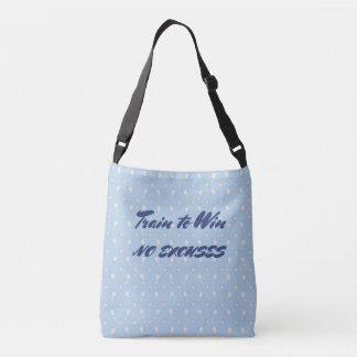 Motivational sports trophy custom text blue tote bag