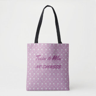 Motivational sports trophy custom text purple tote bag