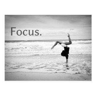 Motivational Training Beach Focus Handstand Postcard