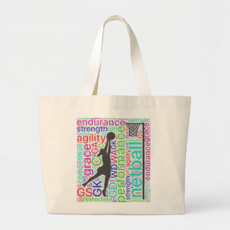 Motivational Words and Player Positions Netball Large Tote Bag