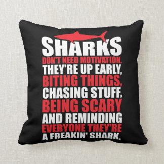 Motivational Words - Be A Shark Throw Pillow