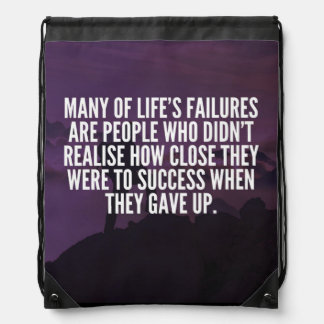 Motivational Words - Failure and Success Drawstring Bag