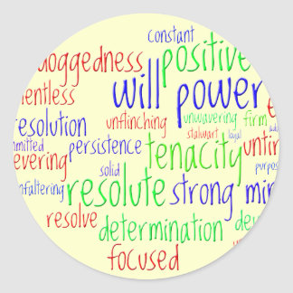 Motivational Words for New Year, Positive Attitude Round Sticker