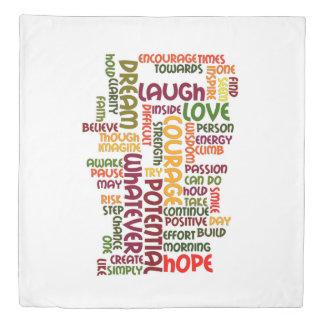 Motivational Words for positive encouragement Duvet Cover
