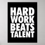Motivational Words - Hard Work Beats Talent Poster