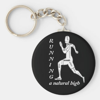 Motivational Words, Running - a Natural High Basic Round Button Keychain