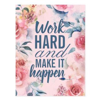 Motivational Work Hard Success Floral Postcard