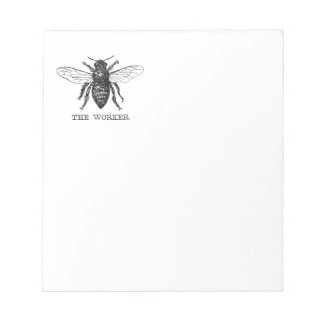 Motivational Worker Bee Black and White Notepad