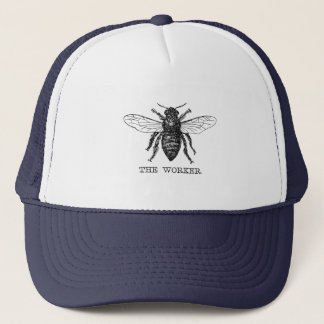Motivational Worker Bee Black and White Trucker Hat
