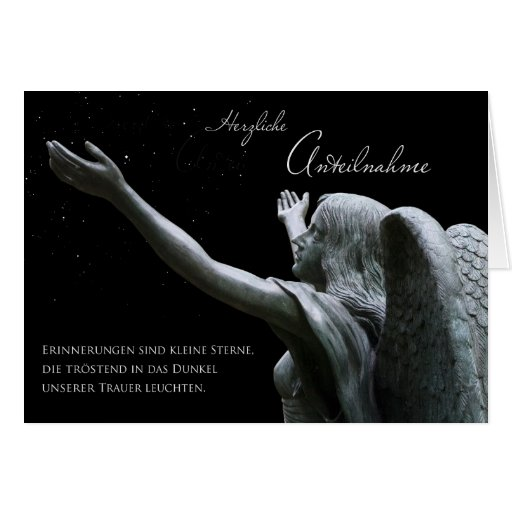 Motive for mourning: Angel and stars Greeting Card