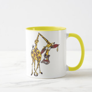 Motive: merry giraffe with earring and gold tooth mug