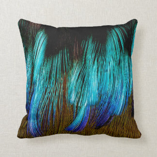 Motmot Feather Abstract Throw Pillow
