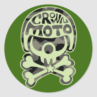 Moto Clown (camo) Classic Round Sticker