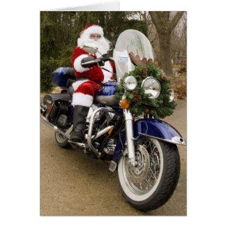 Moto Père Noël Carte De Vœux
