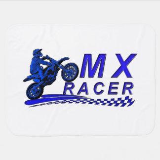 Moto X racer with checkered flag Stroller Blanket