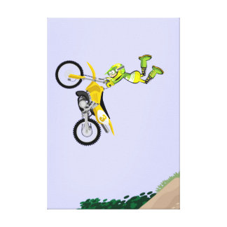 Motocross an audacious jump by the air canvas print