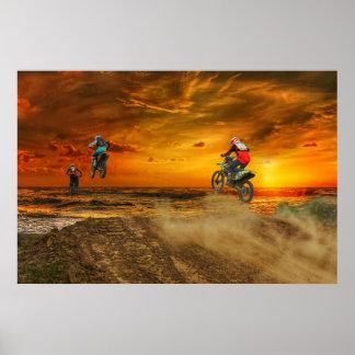 Motocross at dusk poster