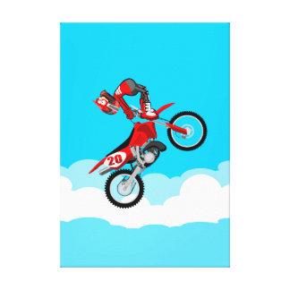 Motocross carries far audacious boy shows their canvas print