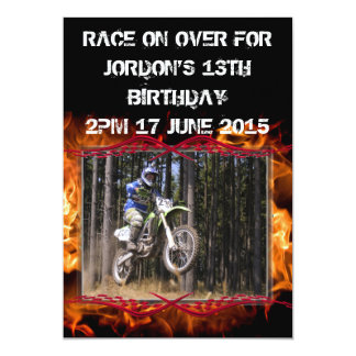 Motocross checkered flags and fire customizable card