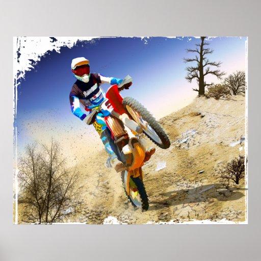 Motocross de Wheelie de désert Poster